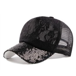 Wholesale Lace Snapback - Women's Cap Summer Ventilation Baseball Caps Laces Sequins Decoration Adjustable Head Size Snapback Hip Hop Mesh Cap Beach Hats