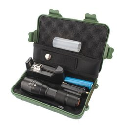 Wholesale Cree Xml T6 Zoomable - G700 E17 CREE XML T6 3800lm High Power LED Torches Zoomable Tactical LED Flashlights torch with 18650 battery charger Luxury box
