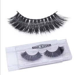 Wholesale Eye Hair Band - 12 Styles 100Pairs Glitter Box Mink Hair False Eyelashes Handmade Black Band Cross Tapered Women Lady Eye Lashes Makeup