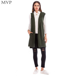 black sleeveless sweater Promo Codes - Sleeveless Green Casual Fashion Women Long Vest Gray Hooded Solid Spring Cardigan Autumn Black Knit Winter Sweater