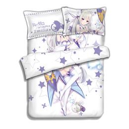 Wholesale Japanese Anime Pillow Cases - Japanese Anime Re Zero kara Hajimeru Isekai Seikatsu Emilia Bed Sheet or Duvet Cover with Two Pillow cases bedding Linen