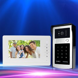 Wholesale outdoor keypad - Wired Color Video Door Phone 7'' Intercom Video Door Bell System IR COMS Outdoor RFID Camera With Password Keypad FREE SHIPPING