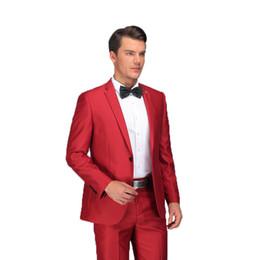 Vestiti maschi rossi prom online-Red Suit 2018 Ultimi Mutanda Cappotti Disegni Abiti convenzionali Set con pantaloni Elegante da uomo Slim Fit Red Prom Costume da sposa