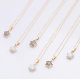 Maglione appuntito online-Collana con pendente in pietra naturale Collana con pendente a stella a cinque punte Collana lunga con maglione