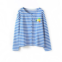 Wholesale Stripe Long Sleeve - Women's knitted horizontal stripes cardigans embroidered with lemon JANINE Blue top