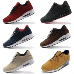 Wholesale Suede Baby Boots - 2017 BABY Suede Leather AM 90 VT Winter Sneakers Shoes Man Sneaker Boots Walking Shoes Zapatillas 8 Colors Size 36-45