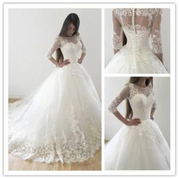 2019 elástico de cetim vestido de bola vestidos de noiva Vestido De Noiva 3/4 mangas vestido de baile vestidos de casamento 2018 moderno branco do laço do casamento vestidos de renda até vestido de noiva Robe De Mariage
