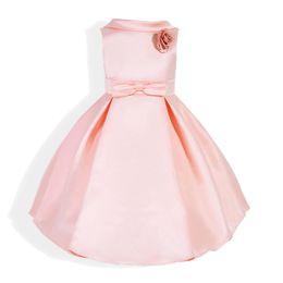 Wholesale Tulle Mid Wedding Dress - Girl Princess Dress Children Longuette Sleeveless Full Dress Cotton Lining Wedding Satin Material Elegant Girls Dresses 3-7 Years Old
