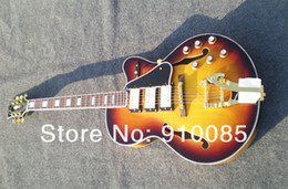 Wholesale deluxe guitar - Deluxe Vintage Sunburst Semi Hollow Electric Guitar Abalone Binding Body Free Shipping