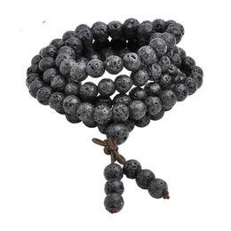 Тибетский бисера ожерелье онлайн-Горячая Оптовая 6 мм 8 мм природный Лава Камень Камень исцеление драгоценный камень 108 буддийский молитвенные бусины Тибетский мала браслет ожерелье