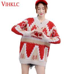 Корейский большой вязаный свитер онлайн-Свободные Толстые Длинные Студенты Раздела Большой Размер Свитер Пуловеры Женщины 2018 Осень Зима Новая Корейская Версия Вязать Дна X299