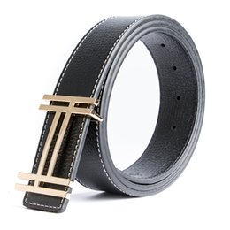 Wholesale Buckle Jeans For Men - ECHAIN Luxury H Brand Designer Belts Men High Quality Male Casual Genuine Real Leather H Buckle Strap for Jeans Blue