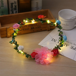 Wholesale floral party favors - LED Headband Rose Bride Floral Crown Fashion Garland Head Ornaments Wedding Favors Party Gifts Beach Keepsake 6 5bz UU