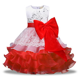 Wholesale cupcake tutu - Baby girls big Bow lace TuTu dress Children Sequins cupcake princess dresses 2018 new Boutique Kids Clothing 4 colors Ball Gown C3687