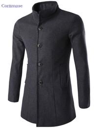 Ropa de lana británica online-Coromose Nuevo 2017 Mens Designer Clothing British Style Cashmere Trench Coat Otoño Chaqueta de Lana Cazadora de hombres Overcoat Casacos
