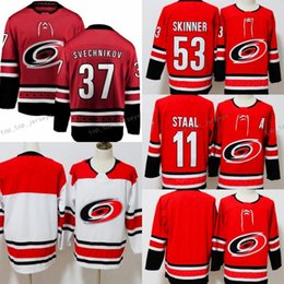 d29948270 Carolina Hurricaness Jerseys Hockey 53 Jeff Skinner Jersey 11 Staal 14  Justin Williams Andrei Svechnikov Red White Stitch Embroidery Good Men