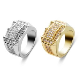 Discount pcs men ring gold - 1 PC Punk Hip Hop IP Gold Filled Ring Silver Color Micro Pave Rhinestone Iced Out Bling Big Square Rings for Men Jewelry