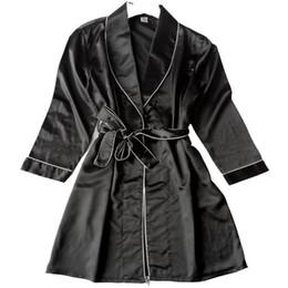 Le cameriere di seta delle signore lungamente online-Sexy Black Robe Kimono Accappatoio Estate Ladies Camicia Da Notte Faux Seta Indumenti Da Notte Camicia A Maniche Lunghe Home Dressing Gown M-XXL