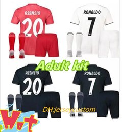 2018 2019 Real Madrid Adult kit Soccer Jerseys RONALDO home Soccer shirt  Modric KROOS ISCO ASENSIO BALE Fútbol 18 19 Football Shirts Kits 3f78feb16