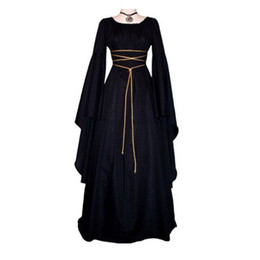 Средневековые платья для женщин онлайн-Medieval Women's Solid Vintage Victorian Gothic Dress Renaissance Maiden Dresses Retro Long Gown Cosplay Costume For Halloween