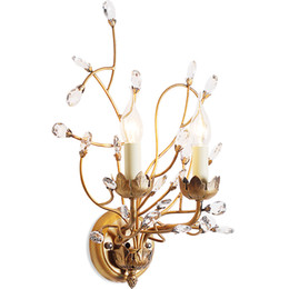 Wholesale Deco Wall Sconces - American style branch wall sconce lights iron crystal chandeliers wall lamp 2 E14 lamp holder for Bedside Bedroom Dinning Room Restroom
