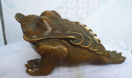 """Wholesale Chinese Sculptures - 7""""Chinese Folk Culture Handmade Old Brass Statue Money Toad Sculpture"""