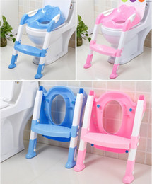 Wholesale Plastic Chairs Children - Baby potty seat with ladder children toliet seat cover kids toliet folding potty chair training portable free shipping