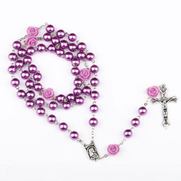 Wholesale wholesale catholic rosary beads - 3 Colors Catholic Rosary Madonna Jesus Cross Necklace Pendants Pearl Bead Chain Fashion Belief Jewelry for Women DROP SHIP 162669