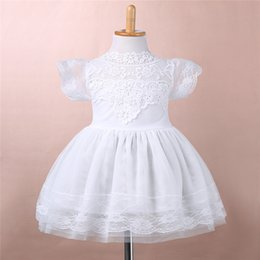 Wholesale Korean Clothing For Kids - 2016 summer new arrival girl cotton lace dress for kids children clothes white lace princess korean cute dress