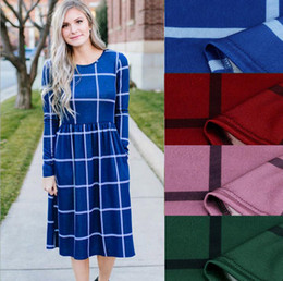 giaccone lungo le gonne delle donne Sconti Plaid Women Dress Long Sleeve Casual Dress Plaid Romper Slim Skirt Ladies Party Mini Shirt Dress OOA4149
