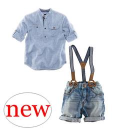 Wholesale baby boy shirt pants suspenders - Retail INS Summer Baby Blue Striped Cotton Shirt & boys overalls denim blue suspender trousers baby pp pants 2pc set