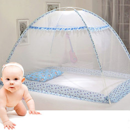 Wholesale Baby Crib Canopy Netting - Blue Pink Cartoon Baby Bed Canopy Portable Folding Crib Netting Tent without Bottom 80*100 90*140 cm Baby Bed Mosquito Net 1pcs