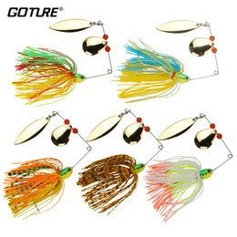 spinner bait bass fishing lure Promo Codes - Goture 5pcs lot 17.5g Spinnerbait Bass Fishing Lure Blade Skirt Metal Spoon Spinner Bait Rig Pike Carp Fishing Tackle