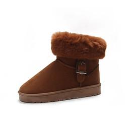 Canada conception de la marque 2018 nouveau style hiver européenne et américaine chaussures en coton chaud en peluche cheveux à fond plat bottes plates chaussures de neige en daim B037 cheap american winter shoes Offre