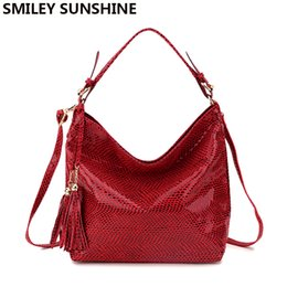 21dbbbf1bcc Smiley Sunshine Snake Leather Women Big Shoulder Bag Female Serpentine  Pattern Hobos Bag With Tassel Women Handbag Red Tote New