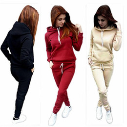 Wholesale Girls Jogging Pants - Women Hoodies Sports Tops Pants Tracksuit Sweatshirt Sweat Suit Jogging Set Sport Wear Casual Suit Sets LJJO4098