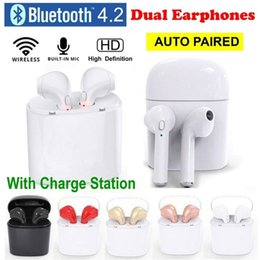 Wholesale iphone heads - TWS V4.2 Wireless Earphone Bluetooth Earphones Pair In-Ear Music Earbuds Set For Phone 6 7 Samsung Xiaomi Sony Head Phone headphones