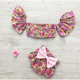 5ebb056131d9 2018 INS Baby girl toddler kids Summer clothes 2piece set Floral Tank Tops  Tube Shirt Vest + Bow Shorts Bloomers Diaper Covers Pants