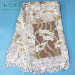 Wholesale Net Swiss Voile Lace - 2017 Fashion Style White Embroidery Net Stones Lace Fabric Flower Guipure Cord Mesh Lace African Swiss Voile Lace In Switzerland