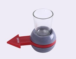 Wholesale Wholesale Drinking Games - Novely Spin The Shot Glass Turntable Toys Drinking Game Shot Glass With Spinning Wheel Bar Wine Games Party Favors 500pcs