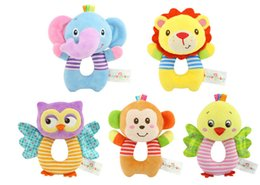 Wholesale Wholesale Infant Toys - Newborn Baby Toys Stuffed Animals Cartoon Animal Baby Boy Girl Rattles Hand Bell Rattles Infant Toddler Plush Toys Kids Gifts