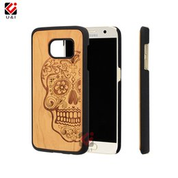 Wholesale Skull Cell Case - For Sugar skull head cherry wood plastic hard cell phone case for samsung galaxy s7, luxury brand case mobile cover for s 7