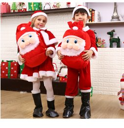 Wholesale mascot costumes for girls - Cosplay Santa Claus Costume Red Christmas Costume For Christmas Children's mascot Costume on Holiday of Christmas Boys Girls Prop