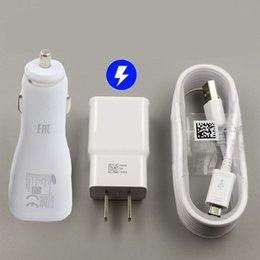 kit de teleférico Rebajas Para Samsung S7 Fast Wall Cargador Cargador para coche para S6 Note 5 Travel Adapter 1.5M Micro USB Cable Kits 5V 2A No Logo Opp Bag CAB243