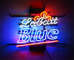 neon beer signs Promo Codes - New Star Neon Sign Factory 17X14 Inches Real Glass Neon Sign Light for Beer Bar Pub Garage Room Labatt Blue .