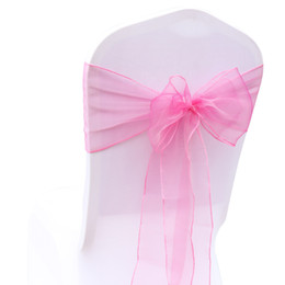 Canada 18 * 275CM Organza Rose Wed Chair Jupettes Spandex Cash Chair Sash Noeuds pour Soirée Banquet Événement Chaise De Noël Couverture Décoration 18 Couleurs cheap wedding decoration chair cover pink Offre