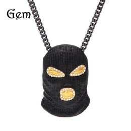 Wholesale black mask necklace - 2017 New Gold Mask Hip hop Bling Necklace Mens Gold Jewelry Iced Out Women Men Gift Hip Hop CSGO Pendant Necklace Jewelry