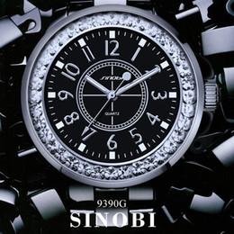 Ginebra ceramica relojes mujeres online-Compre Nuevo reloj de diamantes de moda SINOBI para mujer, vestido de marca de imitación, correa de cerámica para mujer, reloj de cuarzo de Ginebra para mujer. Regalo de las señoras