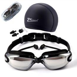 dioptria da lente Desconto Miopia Óculos de Natação HD míopes Natação Óculos dioptria Óculos chapeamento lente Nearsighted Uso da piscina de natação 3 pçs / set
