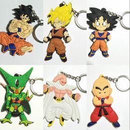 Wholesale key ring pieces - Classic Anime Keychain Dragon Ball Action Figure Key Ring Super Saiyan Son Gokou Pendant Children Gift Keybuckle 2 4ht WW